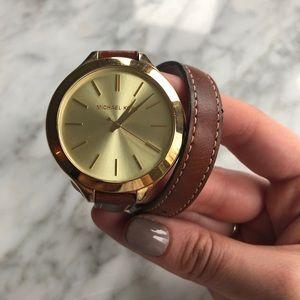 Michael Kors leather double wrap watch